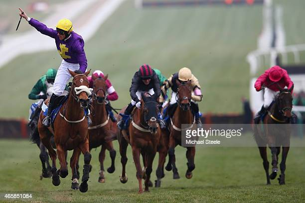 Davy Russell celebrates victory riding Windsor Park in the Neptune Investment Management Novices' Hurdle race during day two of the Cheltenham...