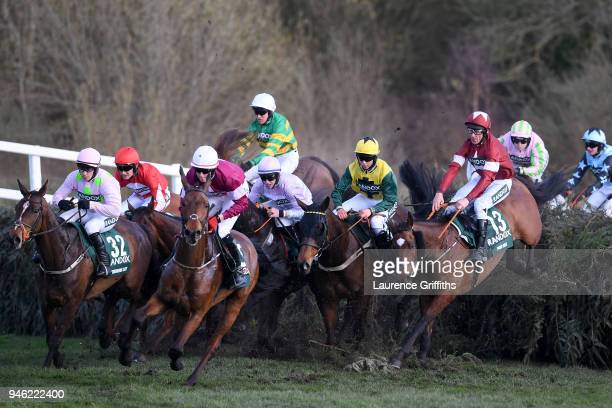 Davy Russell rides Tiger Roll over Canal Turn during the 2018 Randox Health Grand National at Aintree Racecourse on April 14 2018 in Liverpool England