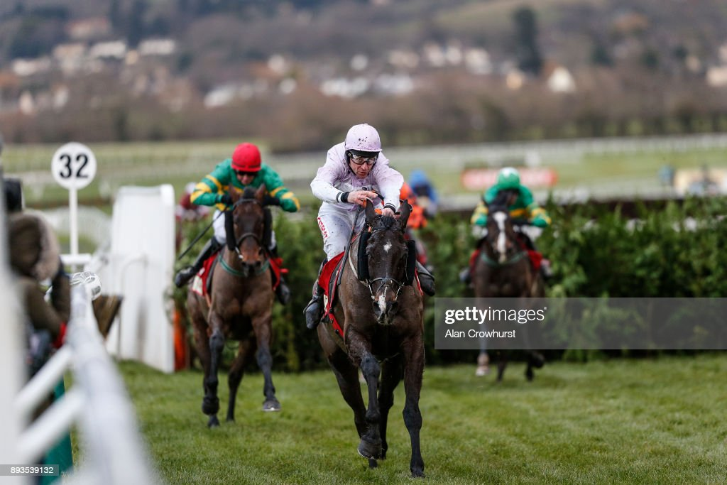 Davy Russell riding Bless The Wings clear the last to win The Glenfarclas Cross Country Handicap Steeple Chase at Cheltenham racecourse on December 15, 2017 in Cheltenham, United Kingdom.