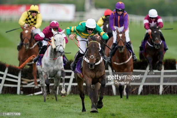 Davy Russell riding Buveur D'Air clear the last to win The BETDAQ Punchestown Champion Hurdle at Punchestown Racecourse on May 03, 2019 in Naas,...