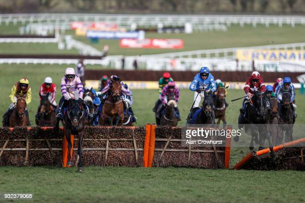 Davy Russell riding Delta Work clear the last to win The Pertemps Network Final Handicap Hurdle Race at Cheltenham racecourse on St Patrick's...