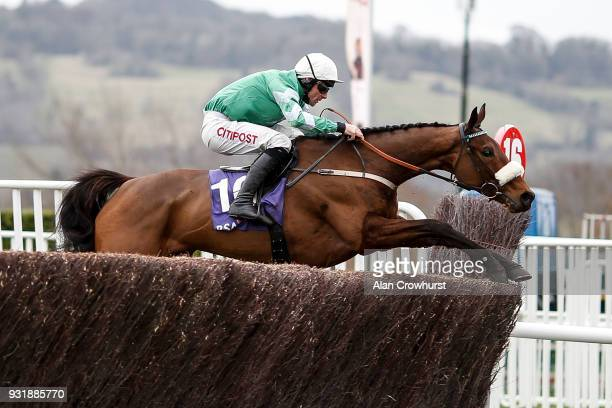 Davy Russell riding Presenting Percy clear the last to win The RSA Insurance Novices' Steeple Chase at Cheltenham racecourse on Ladies Day on March...