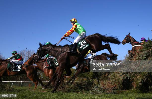Davy Russell riding Saint Are jumps during the 2017 Randox Heath Grand National at Aintree Racecourse on April 8 2017 in Liverpool England