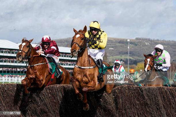 Davy Russell riding Samcro clear the last to win The Marsh Novices' Chase from Patrick Mullins and Melon at Cheltenham Racecourse on March 12 2020 in...