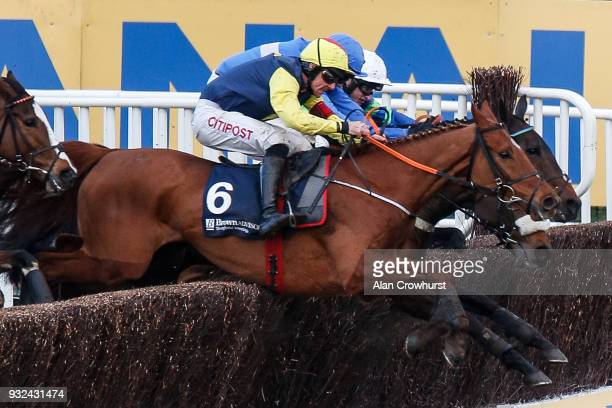 Davy Russell riding The Storyteller clear the last to win The Brown Advisory Merriebelle Stable Plate Handicap Chase at Cheltenham racecourse on St...
