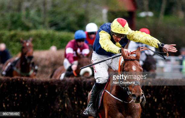 Davy Russell riding The Storyteller clear the last to win The Growise Champion Novice Steeplechase at Punchestown racecourse on April 24 2018 in Naas...