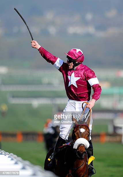 Davy Russell riding Tiger Roll celebrate winning The JCB Triumph Hurdle Race during Cheltenham Gold Cup day at the Cheltenham Festival at Cheltenham...