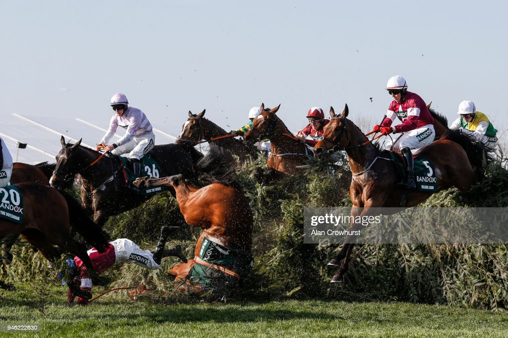 Davy Russell riding Tiger Roll (C, maroon&white cap) clear The Chair on their way to winning The Randox Health Grand National Handicap Steeple Chase at Aintree racecourse on April 14, 2018 in Liverpool, England.