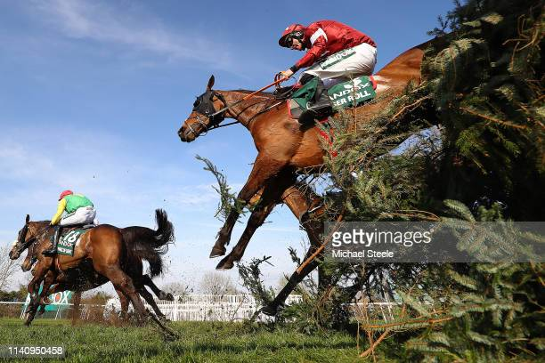 Davy Russell riding Tiger Roll clears Canal Turn on his way to winning the 2019 Randox Health Grand National at Aintree Racecourse on April 06 2019...