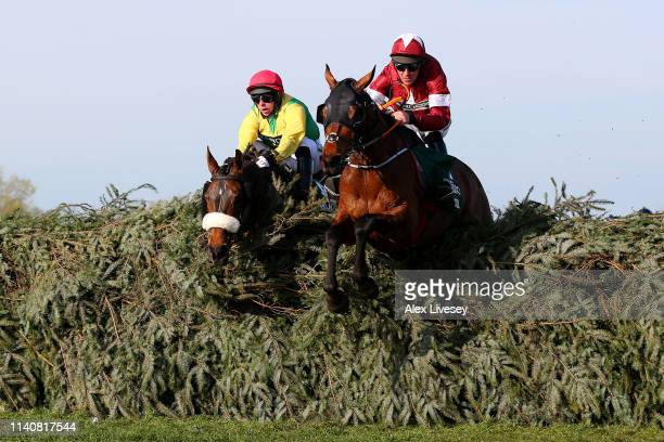 Davy Russell riding Tiger Roll clears the final fence as he races to victory during the Randox Health Grand National Handicap Chase at Aintree...