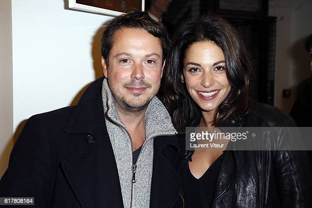 Davy Sardou and his wife Noemie Elbaz attend L'Heureux Elu theater play premiere at Theatre de La Madeleine on October 24 2016 in Paris France