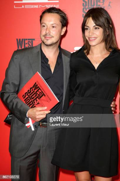 Davy Sardoux and his wife Noemie Elbaz attend West Side Story at La Seine Musicale on October 16 2017 in BoulogneBillancourt France