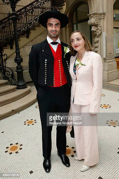 Davy Vetter and Dominique Blanc attend the Wedding of Francois Florent And Kanee Danevong at Mairie Du XVIII on September 12 2014 in Paris France