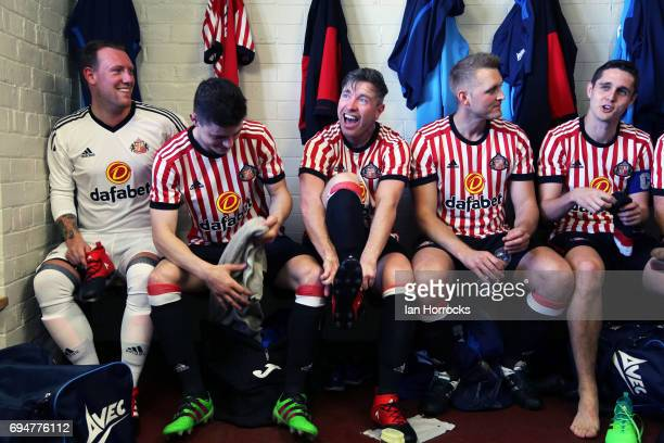 Dawdon players try out the New Sunderland home kit as Sunderland AFC launch their new home kit in a game between Sunday League sides Dawdon Welfare...