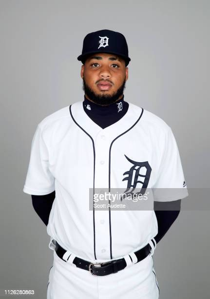 Dawel Lugo of the Detroit Tigers poses during Photo Day on Tuesday February 19 2019 at Publix Field at Joker Marchant Stadium in Lakeland Florida