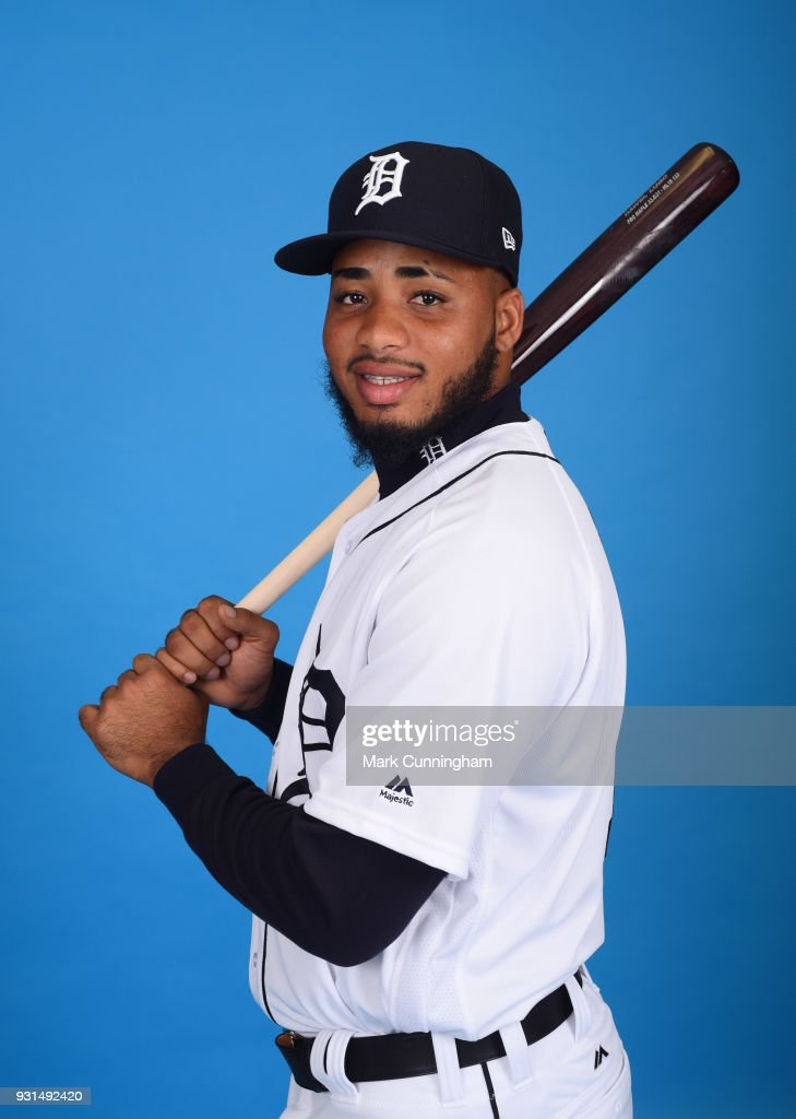 Dawel Lugo #18 of the Detroit Tigers poses for a photo during photo day on February 20, 2018 in Lakeland, Florida.