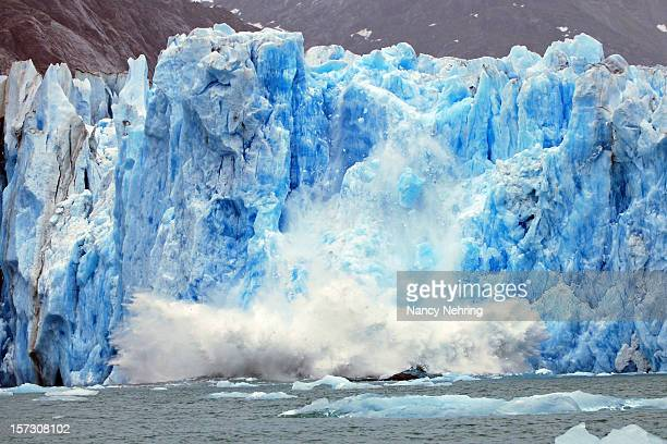 dawes glacier calving - berg stock pictures, royalty-free photos & images