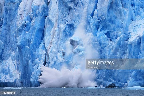 dawes glacier calving - glacier stock pictures, royalty-free photos & images