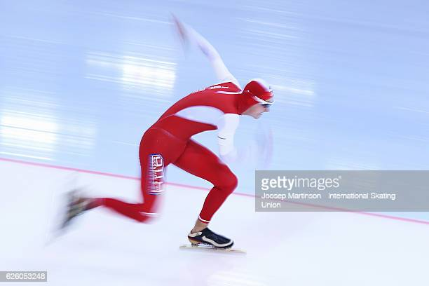 Dawid Burzykowski of Poland competes in Men's 500m during day two of ISU Junior World Cup Speed Skating at Minsk Arena on November 27 2016 in Minsk...