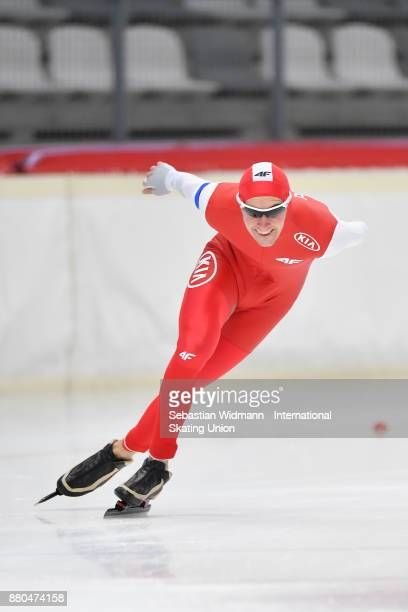 Dawid Burzykowski of Poland performs during the Men 1500 Meter at the ISU Neo Senior World Cup Speed Skating at Max Aicher Arena on November 26 2017...