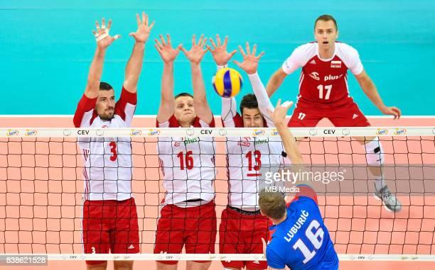 Dawid Konarski Lukasz Wisniewski Michal Kubiak Pawel Zatorski during the European Men's Volleyball Championships 2017 match between Poland and Serbia...