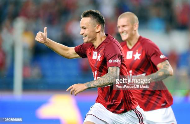 Dawid Kort celebrates scoring a goal during Lotto Ekstraklasa match between Wisla Cracow and Miedz Legnica on July 27 2018 in Cracow Poland