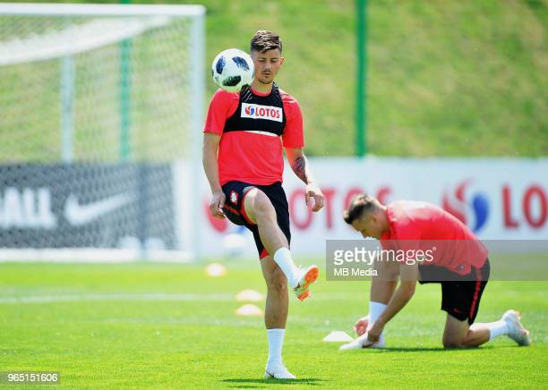 Dawid Kownacki during a training session of the Polish national team at Arlamow Hotel during the second phase of preparation for the 2018 FIFA World...