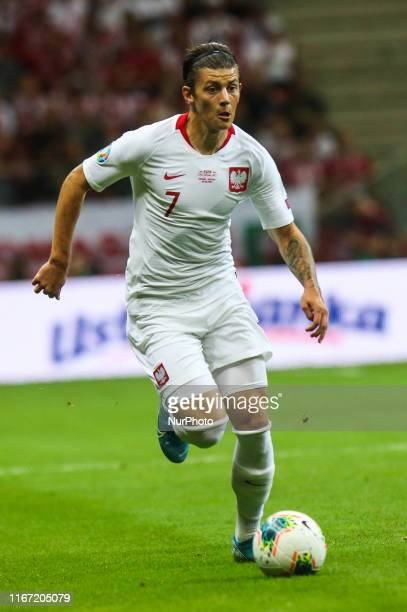 Dawid Kownacki in action during the UEFA Euro 2020 qualifier between Poland and Austria at PGE Narodowy Stadium on September 9, 2019 in Warsaw,...