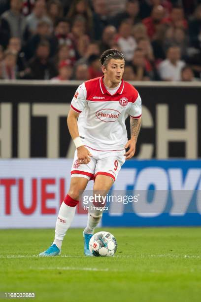 Dawid Kownacki of Duesseldorf controls the ball during the Bundesliga match between Fortuna Duesseldorf and VfL Wolfsburg at Merkur Spiel-Arena on...