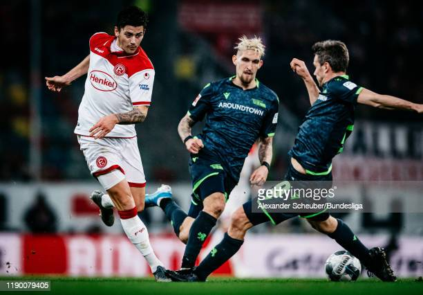 Dawid Kownacki of Duesseldorf in action against Michael Parensen of Union Berlin during the Bundesliga match between Fortuna Duesseldorf and 1. FC...