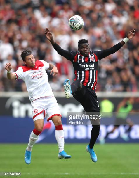 Dawid Kownacki of Dusseldorf and Danny da Costa of Frankfuert during the Bundesliga match between Eintracht Frankfurt and Fortuna Duesseldorf at...