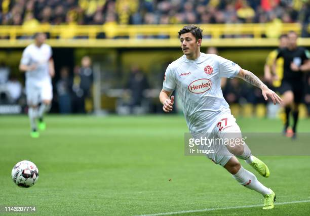 Dawid Kownacki of Fortuna Duesseldorf controls the ball during the Bundesliga match between Borussia Dortmund and Fortuna Duesseldorf at Signal Iduna...