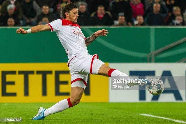 Dawid Kownacki of Fortuna Duesseldorf controls the ball during the DFB Cup second round match between Fortuna Duesseldorf and Erzgebirge Aue at...