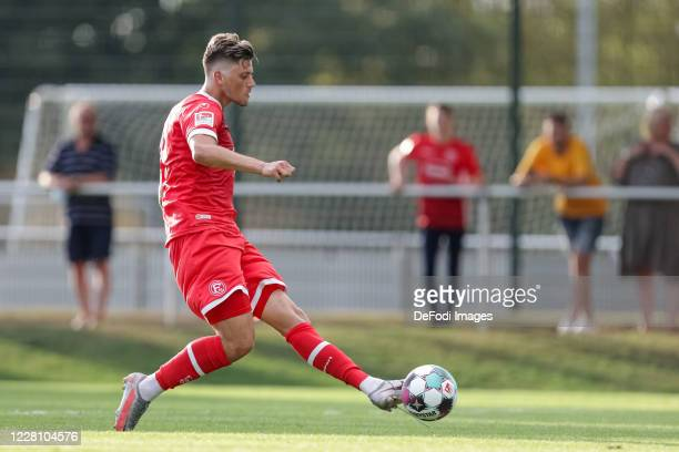 Dawid Kownacki of Fortuna Duesseldorf controls the ball on August 14, 2020 in Meerbusch, Germany.