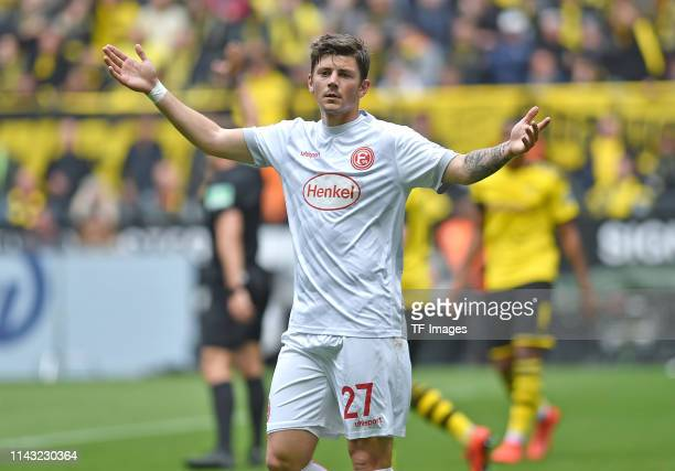 Dawid Kownacki of Fortuna Duesseldorf gestures during the Bundesliga match between Borussia Dortmund and Fortuna Duesseldorf at Signal Iduna Park on...