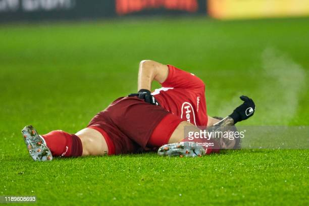 Dawid Kownacki of Fortuna Duesseldorf injured during the Bundesliga match between FC Augsburg and Fortuna Duesseldorf at WWK-Arena on December 17,...
