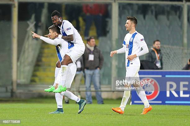 Dawid Kownacki of KKS Lech Poznan celebrates after scoring a goal during the UEFA Europa League group I match between ACF Fiorentina and KKS Lech...