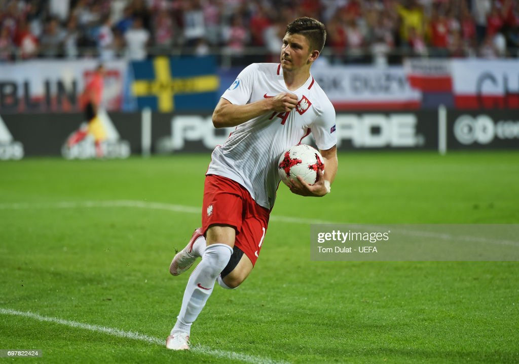 Dawid Kownacki of Poland celebrates scoring his late penalty during the UEFA European Under-21 Championship Group A match between Poland and Sweden at Lublin Stadium on June 19, 2017 in Lublin, Poland.