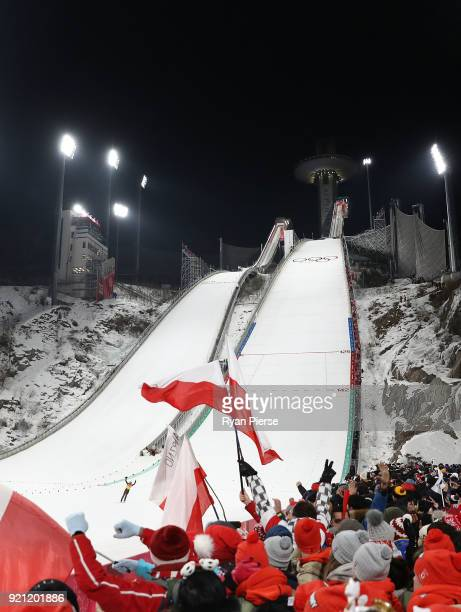 Dawid Kubacki of Poland celebrates after his jump during the Ski Jumping Men's Team Large Hill on day 10 of the PyeongChang 2018 Winter Olympic Games...