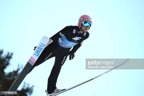 Dawid Kubacki of Poland competes during a training session for the 68th FIS Nordic World Cup Four Hills Tournament at PaulAusserleitnerSchanze on...