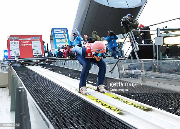 Dawid Kubacki of Poland competes in the trial round of FIS Ski Jumping World Cup competition on November 21 2015 in Klingenthal Germany