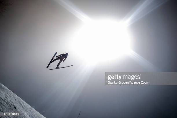 Dawid Kubacki of Poland in action during the FIS Nordic World Cup Four Hills Tournament on January 6 2018 in Bischofshofen Austria