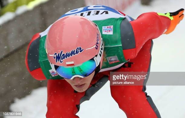 Dawid Kubacki of Poland jumps during a training session prior to the Qualification Jump for the fourth competition of the 63rd Four Hills Tournament...
