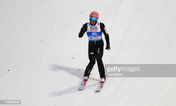 Dawid Kubacki of Poland reacts in the ski jumping Men's HS109 final round during the 2019 FIS World Ski Championships at Toni Seelos Schanze on March...