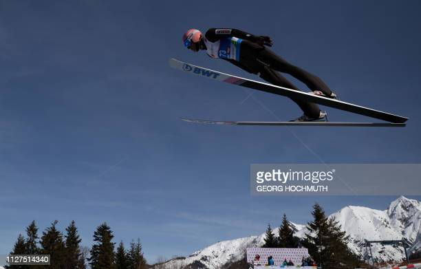 Dawid Kubacki of Poland takes a practice jump during a training of the men's HS109 ski jumping event at the FIS Nordic World Ski Championships on...