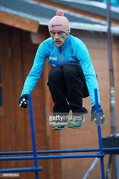 Dawid Kubacki of Poland warms up for the trial round of FIS Ski Jumping World Cup competition on November 21 2015 in Klingenthal Germany