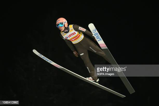 Dawid Kubacki seen in action during the team competition of the FIS Ski Jumping World Cup in Zakopane