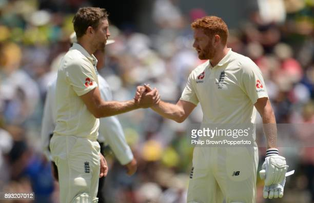 Dawid Malan and Jonny Bairstow of England take a break during the second day of the third Ashes cricket test match between Australia and England at...