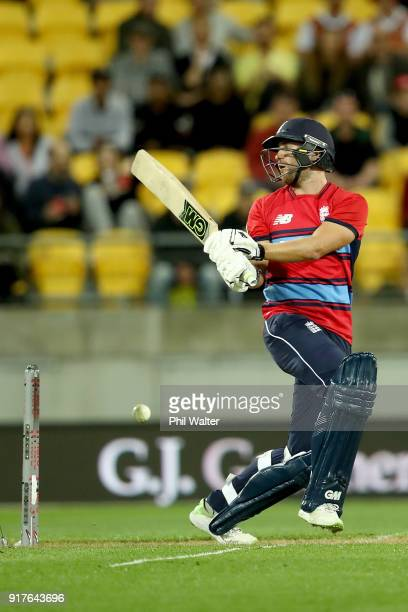 Dawid Malan of England bats during the International Twenty20 match between New Zealand and England at Westpac Stadium on February 13 2018 in...