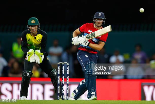 Dawid Malan of England bats during the Twenty20 International match between Australia and England at Blundstone Arena on February 7 2018 in Hobart...